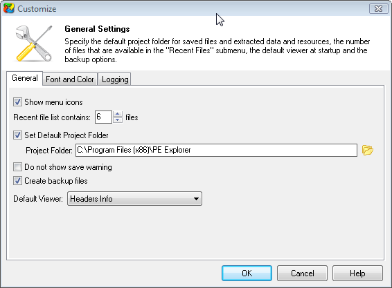 PE Explorer general settings