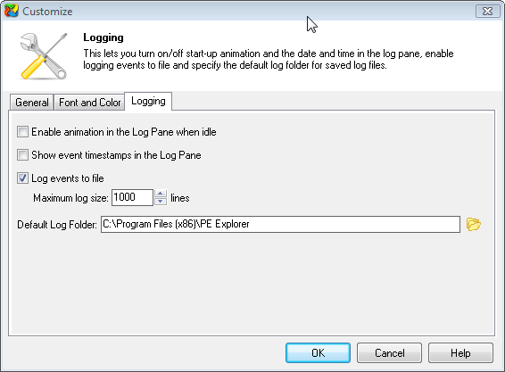 PE Explorer logging options