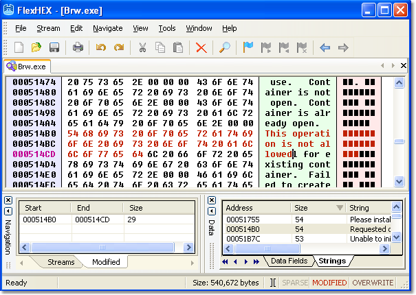 Edit hex data with hex editor