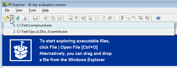 Open file in PE Explorer