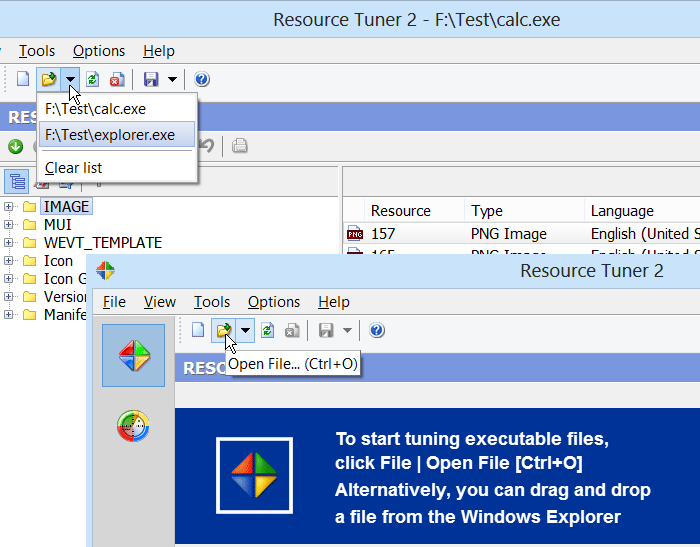 Open file in Resource Tuner
